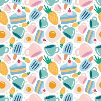 Modèle vectoriel continu coloré avec dessert et tasse sur le fond