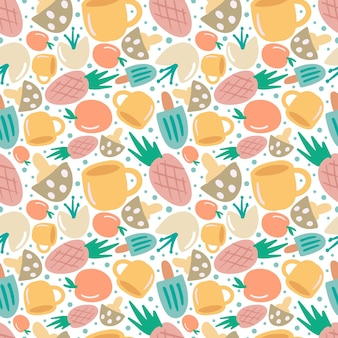 Modèle vectoriel continu coloré avec divers fruits et tasse sur le fond