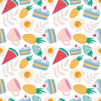 Modèle vectoriel continu coloré avec de la nourriture et une tasse sur le fond