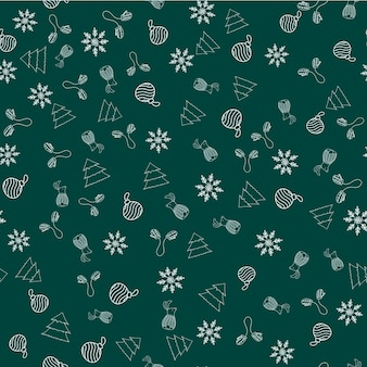 Modèle vectoriel continu du nouvel an avec des mitaines, ornement de noël, flocon de neige, lapin, arbre sur fond vert pour l'impression textile, papier peint, scrapbooking, conception de sites web