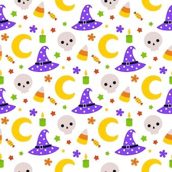 Modèle vectoriel continu mignon avec des éléments d'halloween de dessin animé dessinés à la main