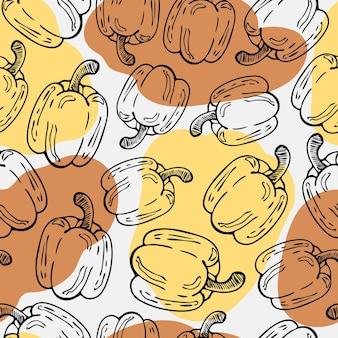 Modèle vectoriel continu de poivre bulgare contours de légumes dessinés à la main et taches de couleur