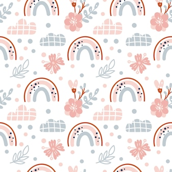 Modèle vectoriel continu de printemps mignon avec des arcs-en-ciel scandinaves dessinés à la main et des éléments à pois avec fleur