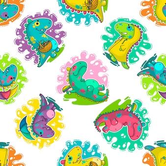 Modèle vectoriel cool dino doodle