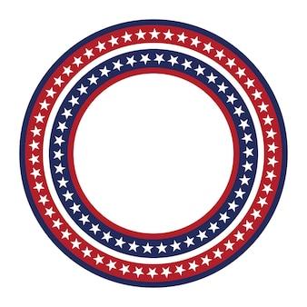 Modèle vectoriel étoile usa cadre rond bordure de cercle patriotique américain avec des étoiles et des rayures