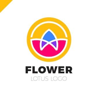 Modèle vectoriel de fleur logo cercle design abstrait. icône du lotus spa cosmétiques hotel garden salon de beauté concept de logotype.