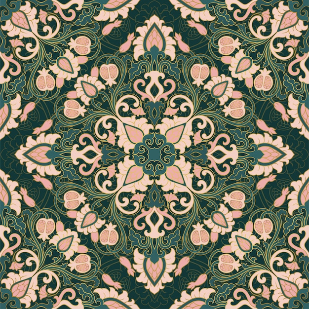 Modèle vectoriel floral avec grenade. ornement en filigrane sans soudure. papier peint vert, textile, châle, tapis.