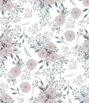 Modèle vectoriel floral avec petites fleurs et feuilles.
