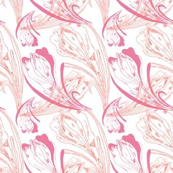 Modèle vectoriel floral de tulipes et de crocus.