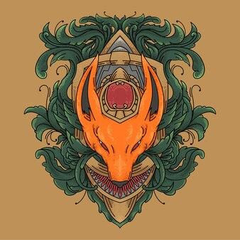 Modèle vectoriel de gravure florale de renard. illustration de renard floral avec style de gravure