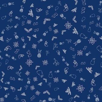 Modèle vectoriel harmonieux du nouvel an avec des animaux de la forêt, poinsettia, gui, chaussette de noël, bottes pour impression textile, papier peint, scrapbooking, conception de sites web