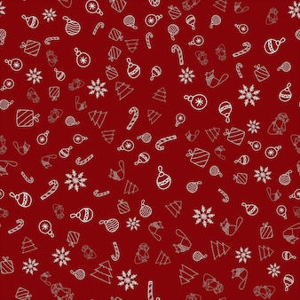 Modèle vectoriel harmonieux de nouvel an avec ornement de noël, père noël, flocon de neige, canne en bonbon, renard dans une écharpe, arbre, cadeaux sur fond rouge pour impression textile, papier peint, scrapbooking, conception de sites web