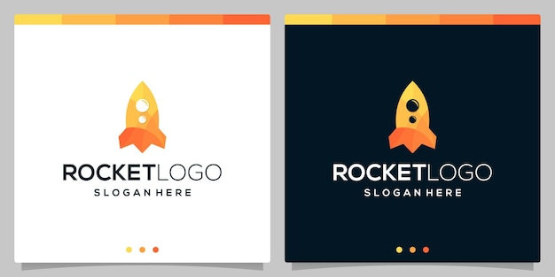 Modèle vectoriel d'icône de logo de fusée en couleur. vecteur de prime