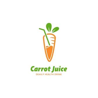 Modèle vectoriel d'icône de logo de jus de carottes fraîches
