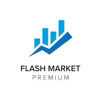 Modèle vectoriel d'icône de logo de marché flash