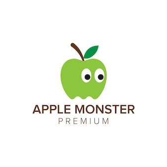 Modèle vectoriel d'icône de logo de monstre de pomme