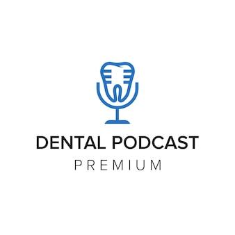 Modèle vectoriel d'icône de logo de podcast dentaire