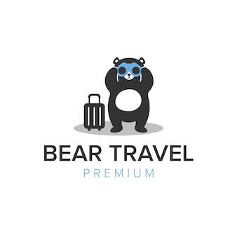 Modèle vectoriel d'icône de logo de voyage d'ours