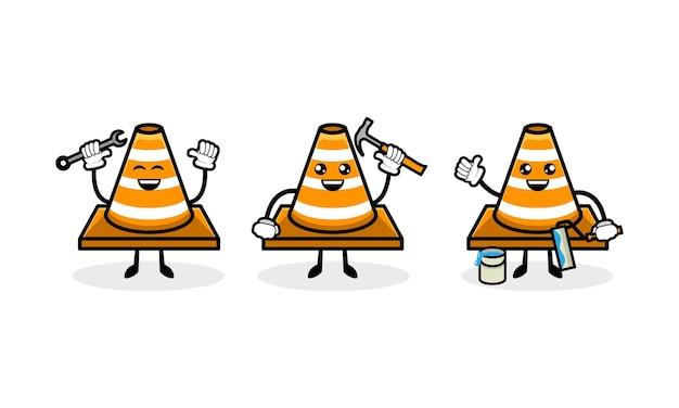 Modèle vectoriel d'illustration de conception de mascotte de cône de signalisation mignon