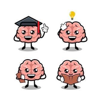 Modèle vectoriel d'illustration de conception de mascotte simple cerveau mignon