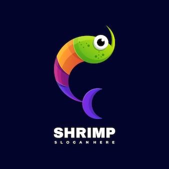 Modèle vectoriel d'illustration de logo de crevettes colorées