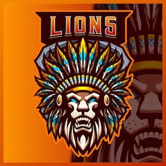 Modèle vectoriel d'illustrations de conception de logo d'esport de mascotte indienne de lion, logo d'apache de chef pour la discorde de banderole de jeu d'équipe