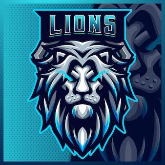 Modèle vectoriel d'illustrations de conception de logo d'esport de mascotte de lion, logo de lion bleu pour le streamer de jeu d'équipe bannière youtuber contraction discorde