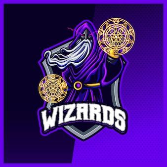 Modèle vectoriel d'illustrations de conception de logo esport de mascotte de magicien de magicien noir, sorcière, logo de magicien pour la discorde de contraction de bannière de youtuber de streamer de jeu d'équipe, style de bande dessinée polychrome