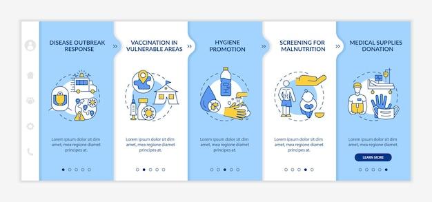 Modèle vectoriel d'intégration de l'aide humanitaire à la santé. site web mobile réactif avec des icônes. écrans de présentation de page web en 5 étapes. concept de couleur de charité avec des illustrations linéaires