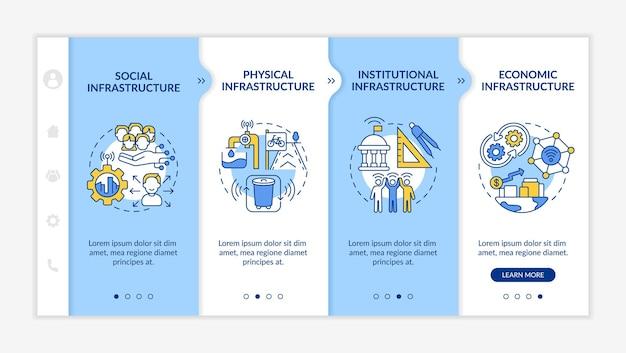 Modèle vectoriel d'intégration bleu des piliers de la ville intelligente. site web mobile réactif avec des icônes. présentation de la page web en 4 étapes. concept de couleur des infrastructures avec des illustrations linéaires