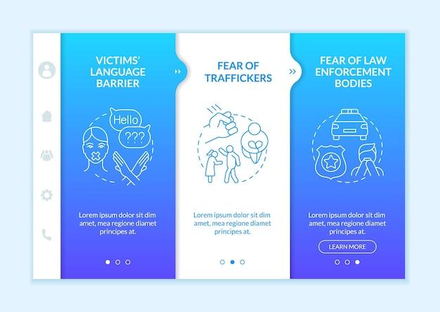 Modèle vectoriel d'intégration bleu des victimes de la traite des êtres humains. site web mobile réactif avec des icônes. présentation de la page web en 3 étapes. concept de couleur de conséquences de coercition avec des illustrations linéaires