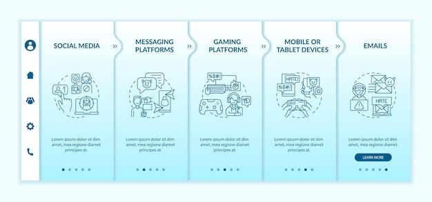 Modèle vectoriel d'intégration des canaux de cyberharcèlement. site web mobile réactif avec des icônes. écrans de présentation de page web en 5 étapes. e-mails, concept de couleur de plates-formes de jeu avec illustrations linéaires