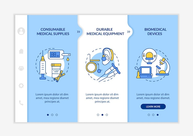 Modèle vectoriel d'intégration des catégories de dons de produits médicaux. site web mobile réactif avec des icônes. présentation de la page web en 3 étapes. l'aide fournit un concept de couleur avec des illustrations linéaires