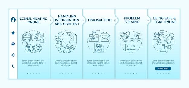 Modèle vectoriel d'intégration des compétences numériques essentielles. site web mobile réactif avec des icônes. écrans de présentation de page web en 5 étapes. concept de couleur de numérisation avec illustrations linéaires
