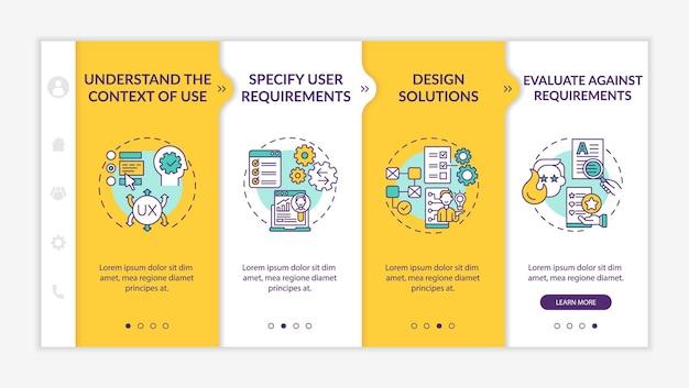 Modèle vectoriel d'intégration de conception centrée sur l'utilisateur. site web mobile réactif avec des icônes. présentation de la page web en 4 étapes. comprendre le contexte d'utilisation du concept de couleur avec des illustrations linéaires