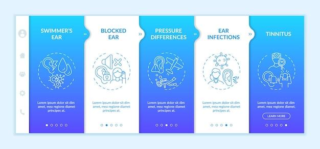 Modèle vectoriel d'intégration de conditions d'oreille courantes. site web mobile réactif avec des icônes. écrans de présentation de page web en 5 étapes. oreille bouchée, acouphènes, concept de couleur de tension avec illustrations linéaires