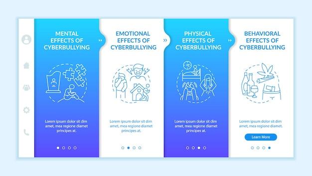 Modèle vectoriel d'intégration des conséquences du cyberharcèlement. site web mobile réactif avec des icônes. présentation de la page web en 4 étapes. concept de couleur d'effets émotionnels et physiques avec des illustrations linéaires