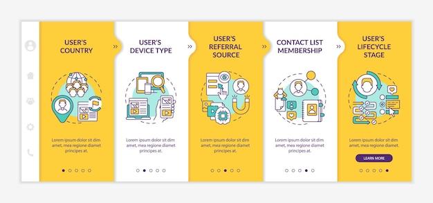 Modèle vectoriel d'intégration des critères de règles intelligentes. site web mobile réactif avec des icônes. écrans de présentation de page web en 5 étapes. concept de couleur de marketing numérique avec illustrations linéaires
