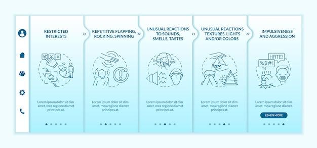 Modèle vectoriel d'intégration de diagnostic asd. site web mobile réactif avec des icônes. écrans de présentation de page web en 5 étapes. réactions inhabituelles aux lumières, aux sons, aux couleurs concept de couleur avec des illustrations linéaires