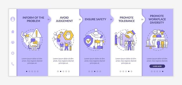 Modèle vectoriel d'intégration de discrimination au travail. site web mobile réactif avec des icônes. écrans de présentation de page web en 5 étapes. promouvoir le concept de couleur de diversité de la main-d'œuvre avec des illustrations linéaires