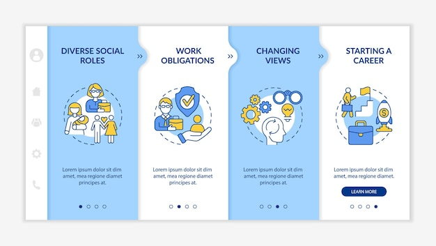Modèle vectoriel d'intégration de divers rôles sociaux. site web mobile réactif avec des icônes. présentation de la page web en 4 étapes. commencer un concept de couleur de carrière avec des illustrations linéaires
