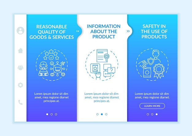 Modèle vectoriel d'intégration des droits fondamentaux des clients. site web mobile réactif avec des icônes. présentation de la page web en 3 étapes. informations sur le concept de couleur du produit avec des illustrations linéaires