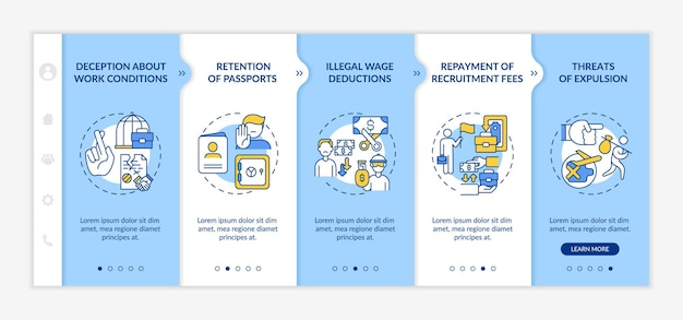 Modèle vectoriel d'intégration des droits des travailleurs migrants. site web mobile réactif avec des icônes. écrans de présentation de page web en 5 étapes. concept de couleur de harcèlement avec illustrations linéaires