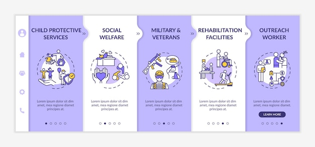 Modèle vectoriel d'intégration du bien-être social. services de protection de l'enfance. centre de réhabilitation. site web mobile réactif avec des icônes. écrans d'étape de la page web. concept de couleur rvb