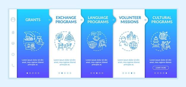 Modèle vectoriel d'intégration d'échange international. éducation à l'étranger. mission bénévole. étudiant de transfert. site web mobile réactif avec des icônes. écrans d'étape de la page web. concept de couleur rvb