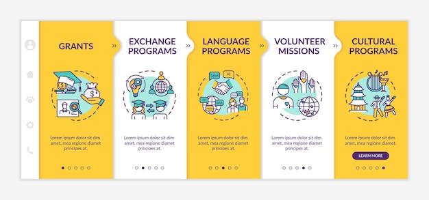 Modèle vectoriel d'intégration d'échange mondial. bourse d'études. mission bénévole. étudiant de transfert. site web mobile réactif avec des icônes. écrans d'étape de la page web. concept de couleur rvb