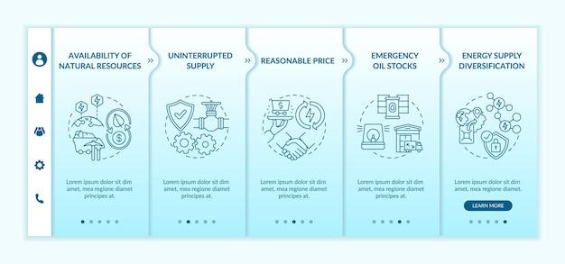 Modèle vectoriel d'intégration d'éléments de sécurité énergétique. site web mobile réactif avec des icônes. écrans de présentation de page web en 5 étapes. approvisionnement constant, concept de couleur des stocks de pétrole avec illustrations linéaires