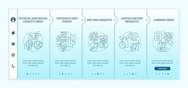 Modèle vectoriel d'intégration d'idées de programme de fidélité d'épicerie. site web mobile réactif avec des icônes. écrans de présentation de page web en 5 étapes. concept de couleur de carte de fidélité avec illustrations linéaires