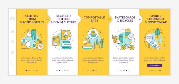 Modèle vectoriel d'intégration de matériaux recyclés. site web mobile réactif avec des icônes. écrans de présentation de page web en 5 étapes. concept de couleur des tendances du recyclage des déchets avec des illustrations linéaires