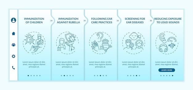 Modèle vectoriel d'intégration des mesures préventives contre la perte auditive. site web mobile réactif avec des icônes. écrans de présentation de page web en 5 étapes. dépistage du concept de couleur des maladies avec des illustrations linéaires
